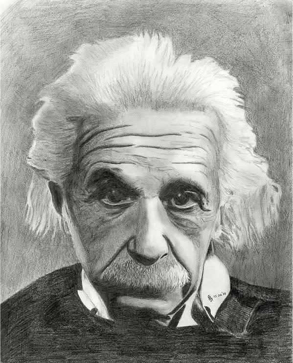 Einstein Art Print featuring the drawing Einstein's Eyes by Charles Vogan