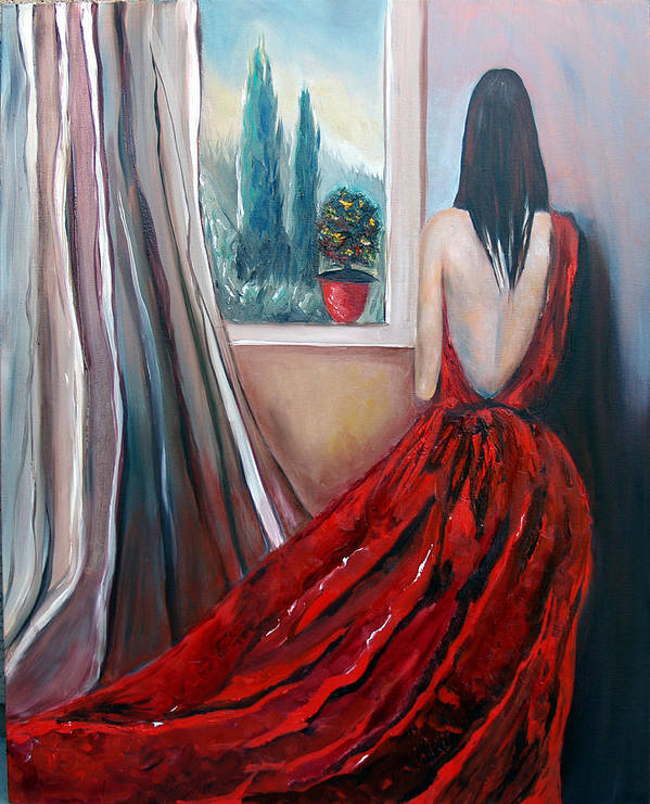 Girl Window Trees Dress Red Woman Art Print featuring the painting Heart Of Mine by Niki Sands