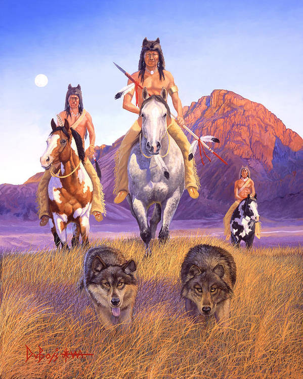 Indian Art Art Print featuring the painting Hunters Of The Full Moon by Howard Dubois