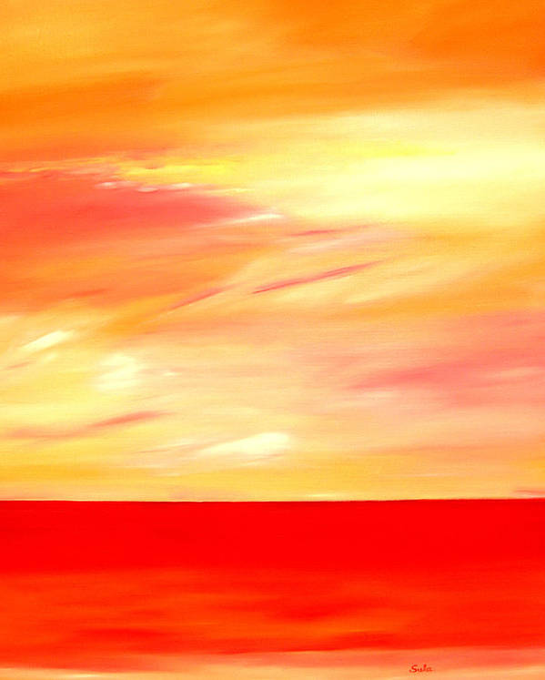 Caribbean Art Print featuring the painting Sorbet Sky by Sula Chance