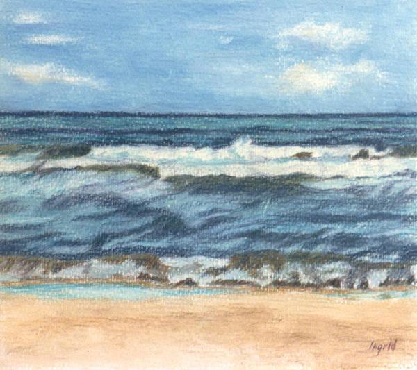 Ocean Art Print featuring the painting Ocean Waves by Ingrid Torjesen