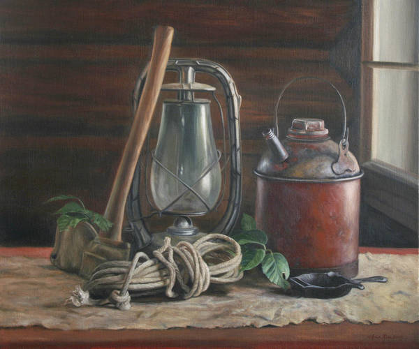 Rustic Art Print featuring the painting Cabin Still Life by Anna Bain