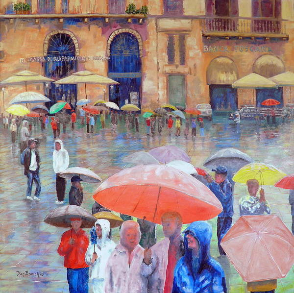 Umbrellas Art Print featuring the painting Florence Spring by Dan Bozich