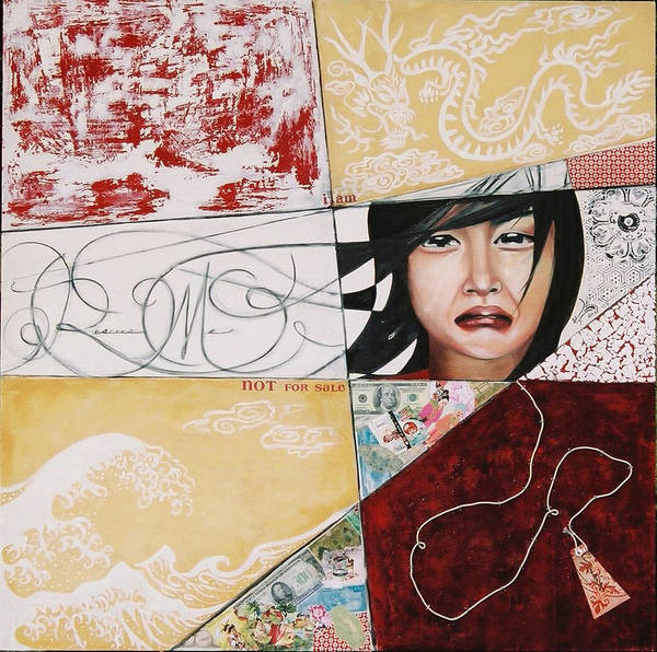 Asian Girl Art Print featuring the painting I Am Not A Tourist Attraction by Teresa Carter