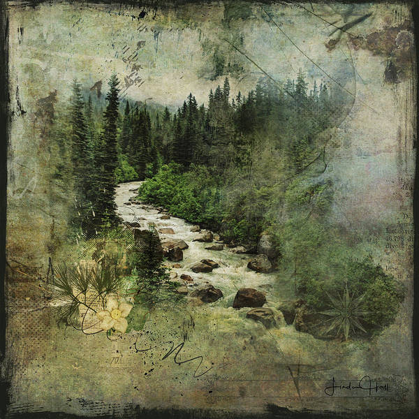 Mountains Art Print featuring the digital art North Woods by Linda Lee Hall