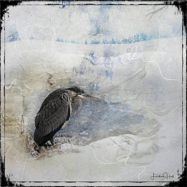 Great Blue Heron Art Print featuring the digital art Winter Wind by Linda Lee Hall