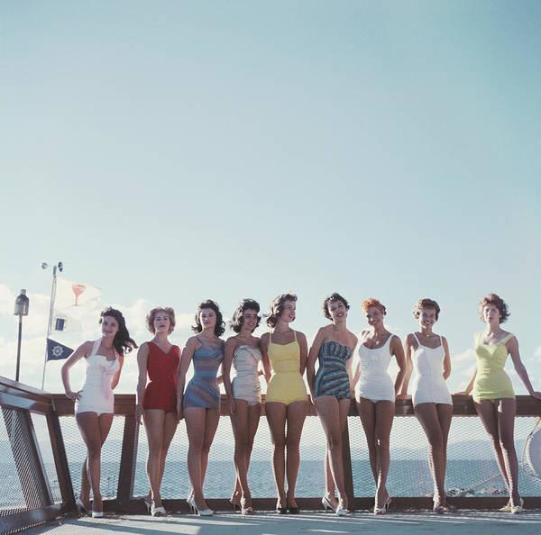 People Art Print featuring the photograph Lake Tahoe Ladies by Slim Aarons