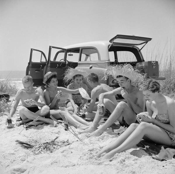 Straw Hat Art Print featuring the photograph Spring Break by Slim Aarons