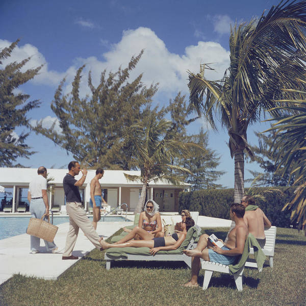 People Art Print featuring the photograph At Lyford Cay by Slim Aarons