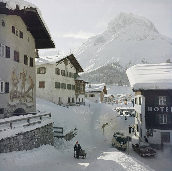 People Art Print featuring the photograph Hotel Krone, Lech by Slim Aarons