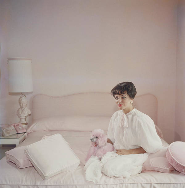 People Art Print featuring the photograph Pink Accessory by Slim Aarons
