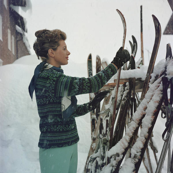Skiing Art Print featuring the photograph Skiing Princess by Slim Aarons