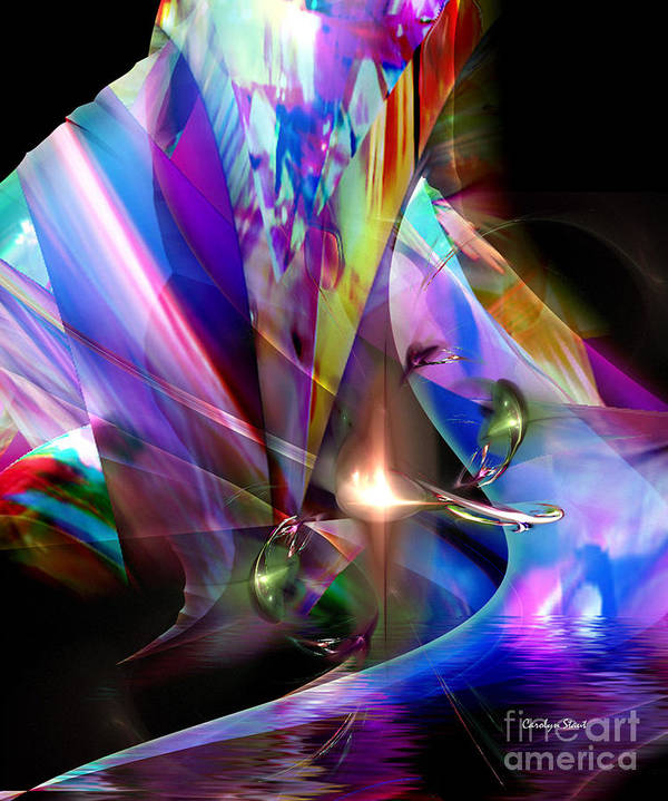 Abstract Bright Colors Digial Abstract Art Print featuring the digital art The Lamp Light by Carolyn Staut