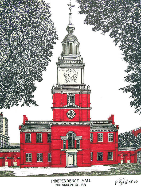 Ink Drawings Art Print featuring the drawing Independence Hall by Frederic Kohli