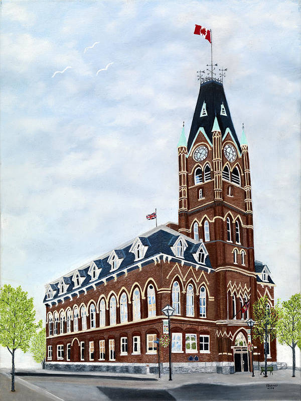Belleville Ontario Painting Art Print featuring the painting City Hall circa1873 Belleville Ontario by Peggy Holcroft