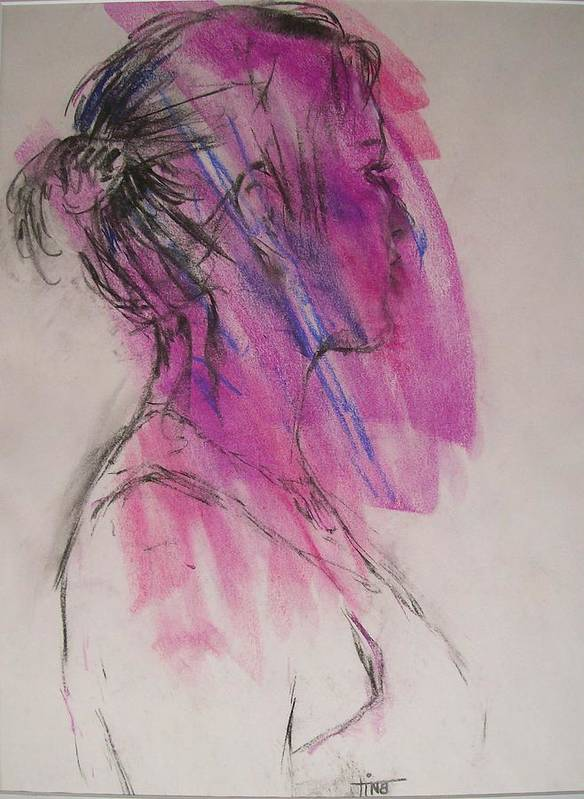 Portrait Art Print featuring the painting Magenta by Tina Siddiqui