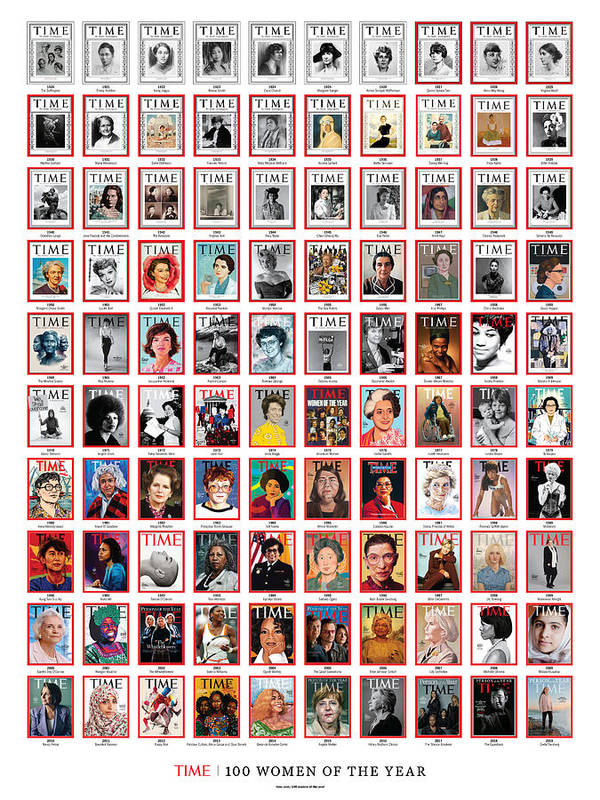 100 Women Of The Year Art Print featuring the photograph TIME 100 Women of the Year Poster - For artist credits visit time.com/100-women-of-the-year by Various Artists