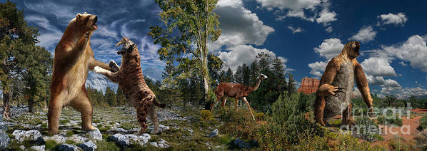 Paleoart Art Print featuring the digital art Pliocene - Pleistocene mural 2 by Julius Csotonyi