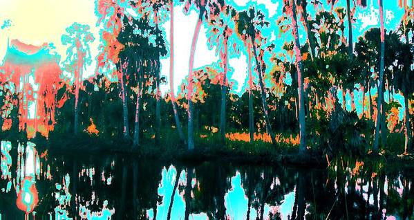 Landscapes Art Print featuring the painting Reflections of Palms Gulf Coast Florida by G Linsenmayer