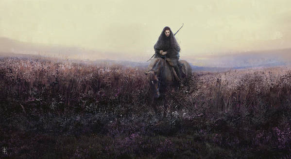 Warrioress Art Print featuring the painting The Long Ride by Eve Ventrue