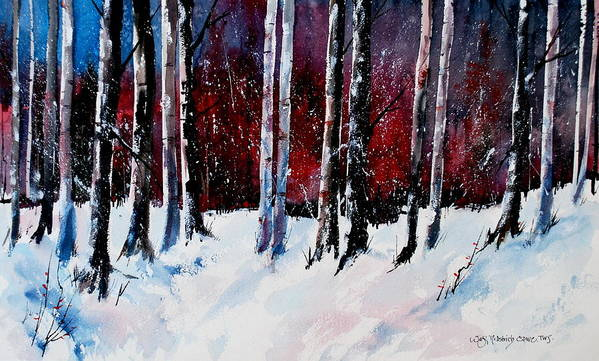 Winter Snow Forest Birch Trees Art Print featuring the painting Ladies of the Forest by Wilfred McOstrich