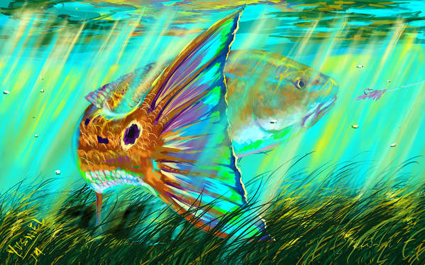 Fishing Art Print featuring the digital art Over The Grass by Yusniel Santos