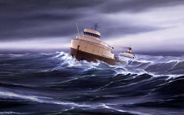 Transportation. Edmund Fitzgerald. Lake Superior. Marine Art. Great Lakes. Lake Superior Shipwrecks. Edmund Fitzgerald Canvas Prints. Captain Bud Robinson. Heavy Weather. Ships In Storms. Freighter Art. Great Lakes Ships. Great Lakes Freighters. Art Print featuring the painting Wind and Sea Astern by Captain Bud Robinson