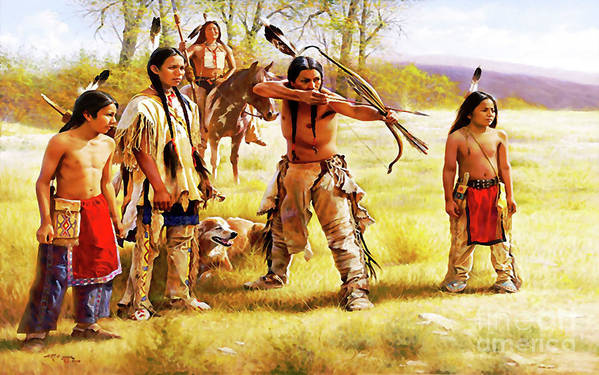 Native American War Trying Watercolor Oil  by Trindira A