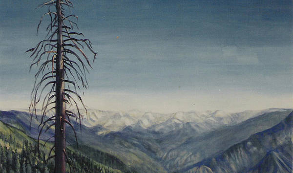 Sequoia National Park Art Print featuring the painting Sky blue by Howard Stroman