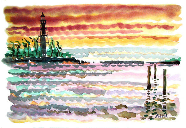 Sunrise Art Print featuring the painting Lighthouse Point Sunrise by Ralph Papa