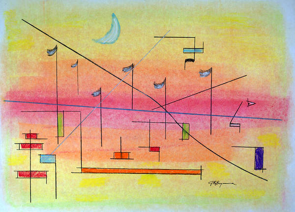 Abstract Art Print featuring the drawing Visualization by J R Seymour