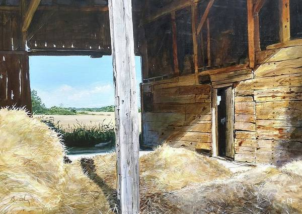 Barn Art Print featuring the painting While The Sun Shines by William Brody