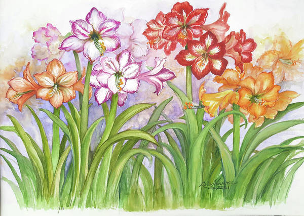 Flowers Art Print featuring the painting Amaryllis Garden by Lois Mountz