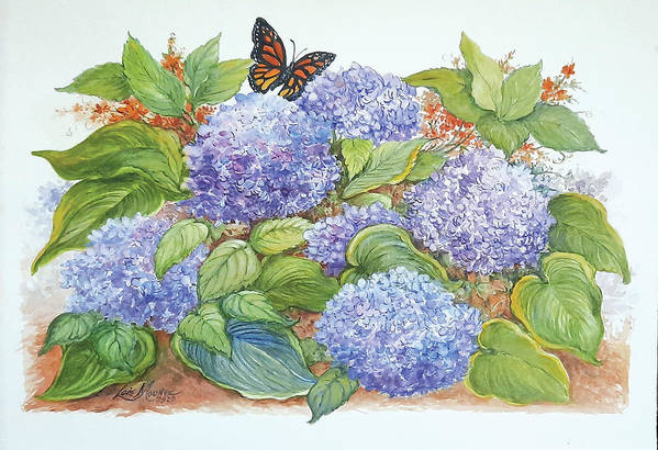 Flowers Art Print featuring the painting Feast for a Monarch by Lois Mountz