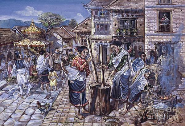 Threshing rice to make chiura by Hari Prasad Sharma