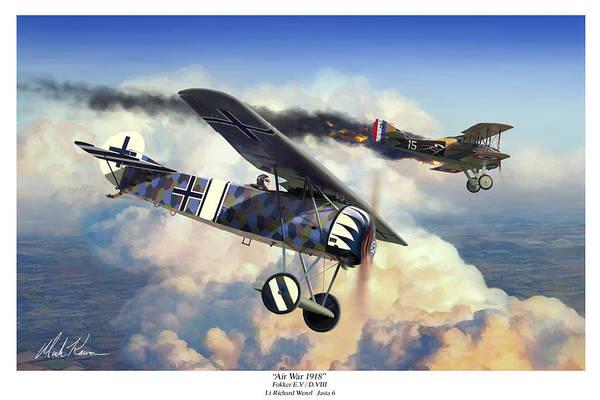 Fokker E.v / D.viii Art Print featuring the painting Air War 1918 by Mark Karvon