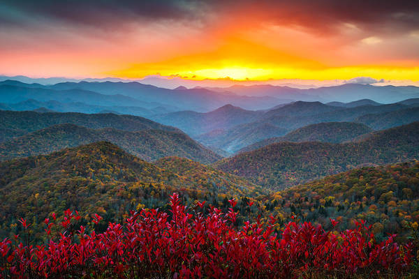 Blue Ridge Parkway Art Print featuring the photograph Blue Ridge Parkway Autumn Sunset NC - Rapture by Dave Allen