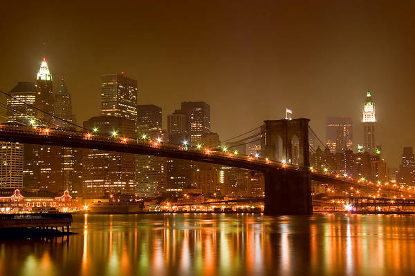 Architecture Art Print featuring the photograph Brooklyn Bridge and Downtown Manhattan by Val Black Russian Tourchin