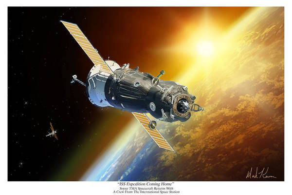 Soyuz Tma Art Print featuring the painting ISS Expedition Coming Home by Mark Karvon