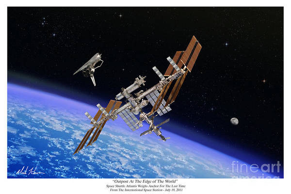 Iss Art Print featuring the painting Outpost At The Edge of The World by Mark Karvon