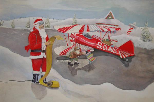 Rick Huotari Art Print featuring the painting Santa's Airport by Rick Huotari