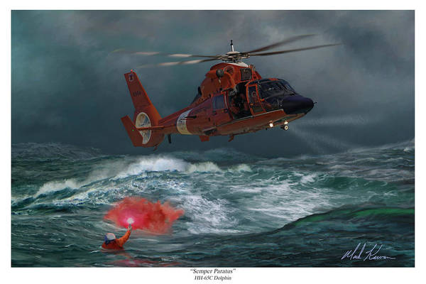 Coast Guard Art Print featuring the painting Semper Paratus by Mark Karvon