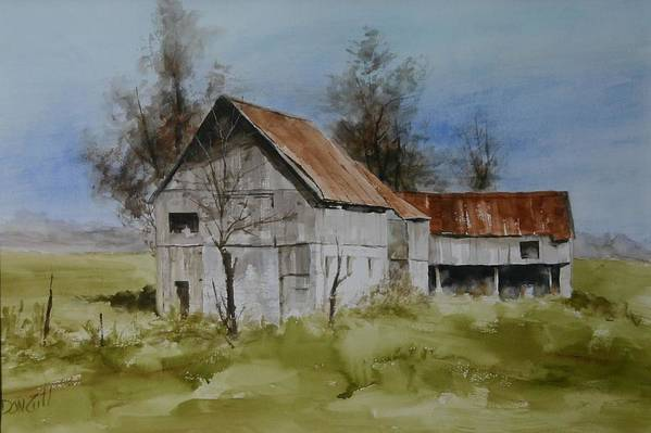 Landscape Art Print featuring the painting Red Tin Roof by Don Cull