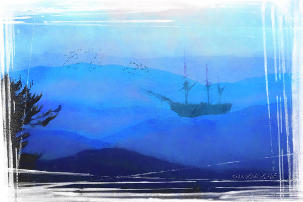 Ship Art Print featuring the digital art An Unexpected Harbor by Linda Lee Hall