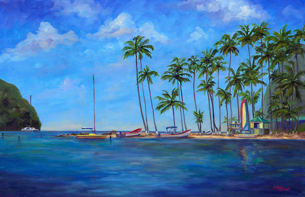 St Lucia Art Print featuring the painting Marigot Bay St. Lucia by Jeff Pittman