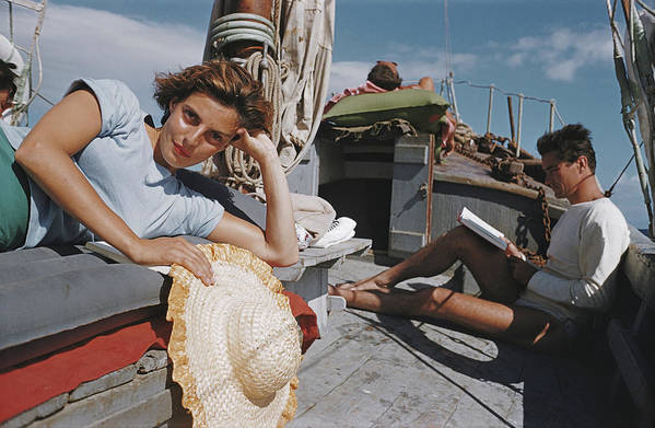 Straw Hat Art Print featuring the photograph Capri Cruise by Slim Aarons
