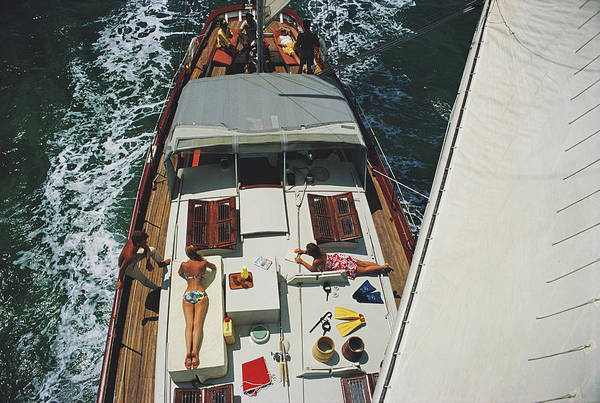 Sunbathing Art Print featuring the photograph Deck Dwellers by Slim Aarons