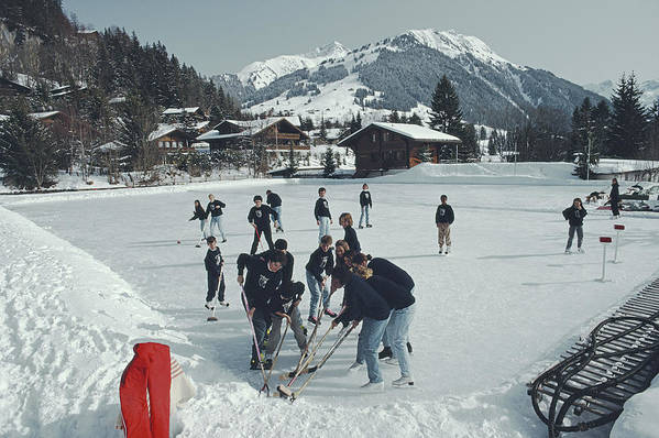 Gstaad Art Print featuring the photograph Ice Hockey by Slim Aarons