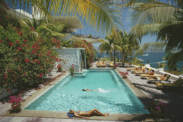 People Art Print featuring the photograph Pool At Las Hadas by Slim Aarons