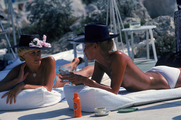 People Art Print featuring the photograph Sunbathing In Antibes by Slim Aarons